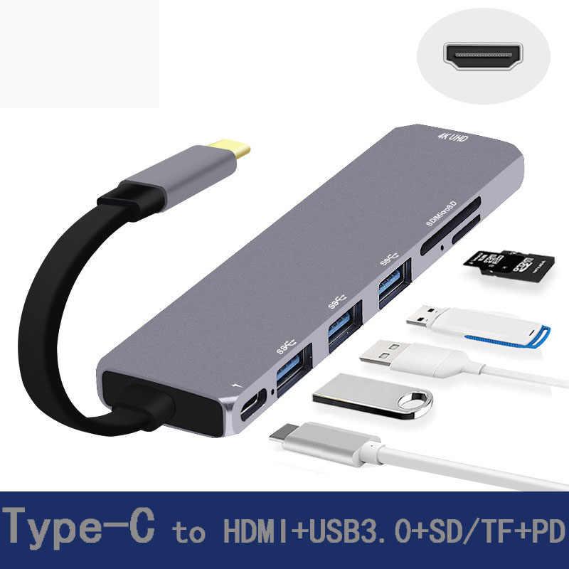 USB C Station d'accueil pour ordinateur portable USB 3.0 HDMI USB Hub Fealushon pour ordinateur portable Macbook Pro HP DELL Surface Lenovo Samsung Station d'accueil