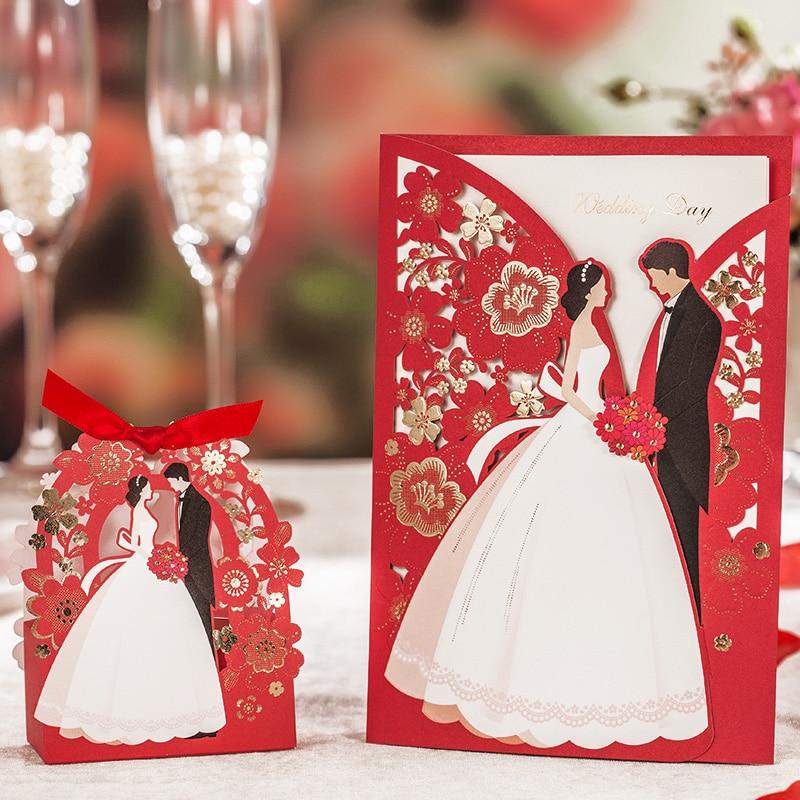 Dekoracje ślubne czerwony Laser Cut zaproszenia ślubne 50 sztuk luksusowy elegancki panna młoda pan młody zaproszenia na ślub 2019 w Kartki i zaproszenia od Dom i ogród na  Grupa 1