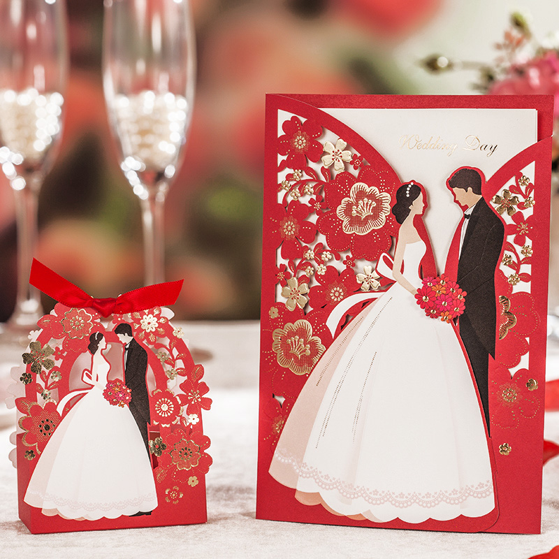 Red Laser Cut Wedding Invitations 50pcs Wishmade Luxurious ...