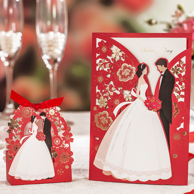 Red Laser Cut Wedding Invitations 50pcs Wishmade Luxurious Elegant Bride Groom Invitation Cards For 2017