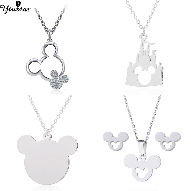Yiustar Long Chain Mickey Necklaces for Women Kids Jewelry Stainless Steel Mickey Necklace Mouse Collane Donna Jewellery
