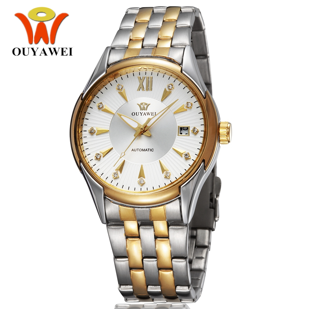 OYW Luxury Automatic Self Wind Mens Dress Wristwatch Full Steel band White Gold Dress Business Waterproof Watches Gifts Relogio guess dress steel w0608g2