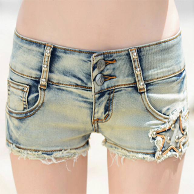 4081bc632fd Sexy Blue Plus Size Low Rise Washed Jeans Tight Shorts Women Star Pattern  Beaded Slim Hip Denim Short Feminino Zipper Hotpants