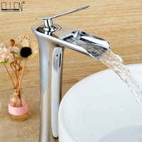 Waterfall Tall Bathroom Sink Faucet Solid Copper Hot and Cold Water Mixer Brush Nickel Antique Bronze Black Basin Faucet