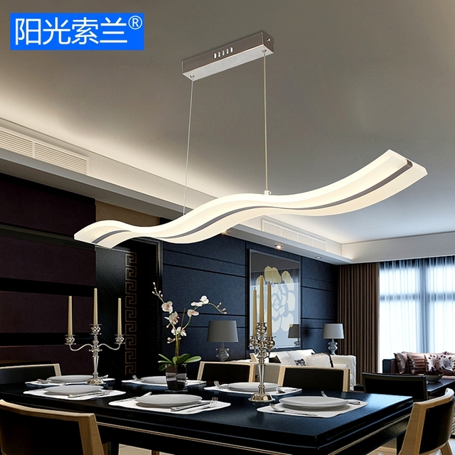 Modern Led Chandeliers 36w White Wave Acrylic For Dinning