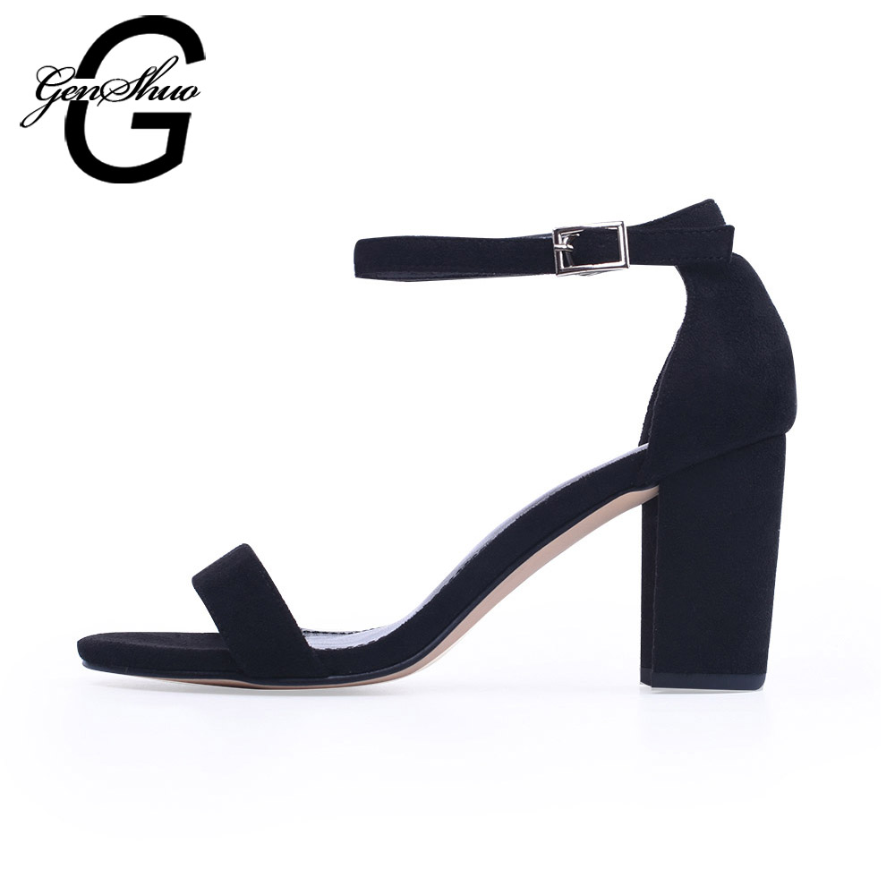 GENSHUO 2018 Ankle Strap Heels Women Sandals Summer Shoes Women Open Toe Chunky High Heels Party Dress Sandals Big Size 42 genshuo women sandals fashion high heels white polka dots sweet buckle ankle strap sandals women chunky heel open toe size 5 5 8