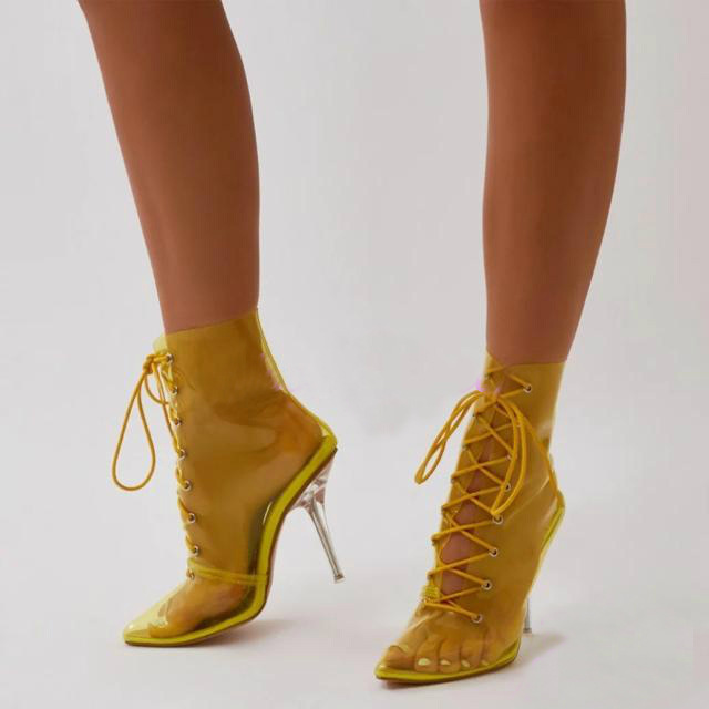 f26986cd4b3a newest autumn yellow shoes PVC Transparent Ankle boots for women lace up Rhinestone  heels high heels