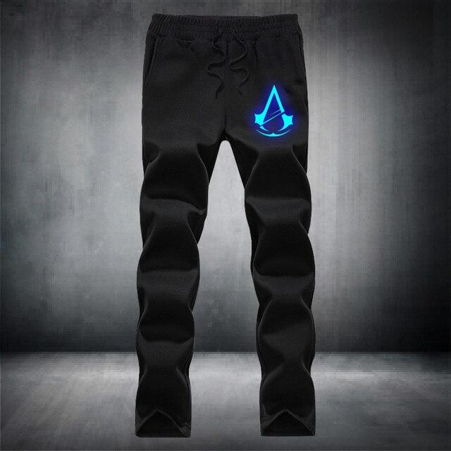 Assassin's Creed Световой рисунок Моды для мужчин Пара Drawstring эластичный пояс Карманные Брюки руно Повседневная марка hip hop
