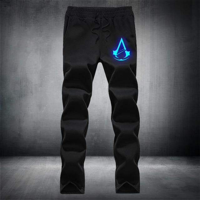 Assassins creed luminosa padrão cordão elástico na cintura dos homens da moda casal bolso calças de lã marca casuais hip hop