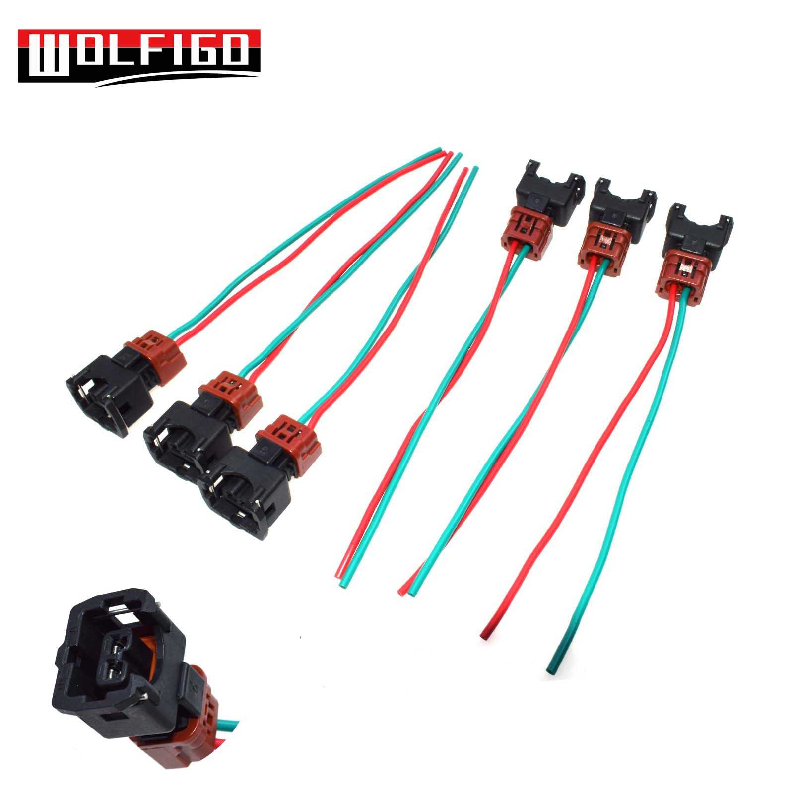 WOLFIGO 1 PC / 6PCS Fuel Injector Connector Pigtail Harness for Nissan on