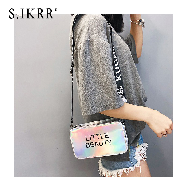 S.IKRR Mini Women Laser Crossbody Bag Messenger Shoulder Bag PVC Jelly Small Tote Messenger Candy colors Bags Laser Holographic