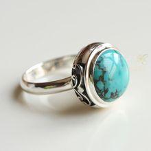 Anillo de piedra de la India, anillo tailandés plateado hecho a mano