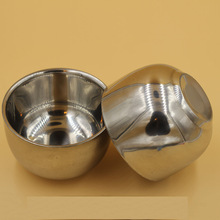100ML 7 2cm Shinning Double Layer Stainless Steel Shave Brush Water Glass Tea Coffee Bowl Men