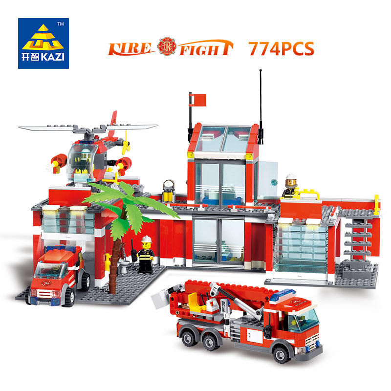KAZI Toys City Construction Series Building Blocks DIY Original Fire Station Bricks Christmas Gift For Kid Compatible Legoe City decool 3114 city creator 3in1 vehicle transporter building block 264pcs diy educational toys for children compatible legoe
