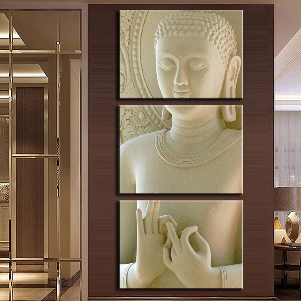 3 Pcs Set Buddha Painting Art On Canvas White Marble Vertical Forms Print Decorative Picture Modern Wall Paintings In Calligraphy