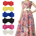Hot Women Bowknot Cummerbunds Elastic Bow Wide Stretch Bukle Waistband Waist Belt 6 Colors