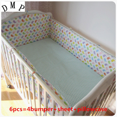 Promotion! 6pcs Baby Bedding Set Newborn Infant Cartoon Crib Kit Detachable ,include(bumpers+sheet+pillow cover)