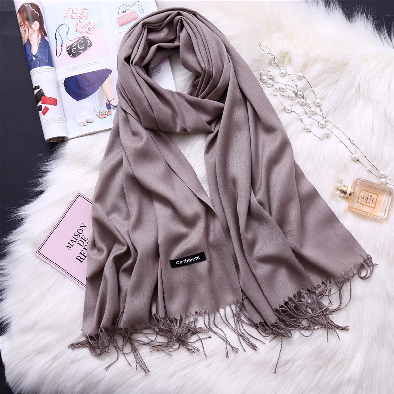 2020 Women Scarf Solid Cashmere Scarves Lady Shawls And Wraps Winter Head Scarf Pashmina Long Size Foulard Hijab Wholesale