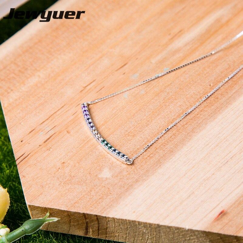 2018 printemps collier incurvé multicolore pour les femmes 925 en argent sterling lien chaîne pendentif colliers bijoux fins bijoux NC035