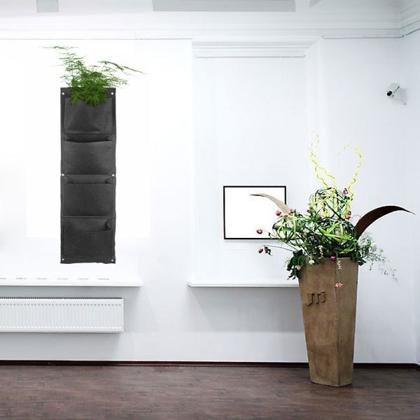 Large 7 Pockets Hanging Flower Pot Polyester Wall-mounted Vertical Gardening Flower Pot Planting Bag Living Indoor Wall Planter