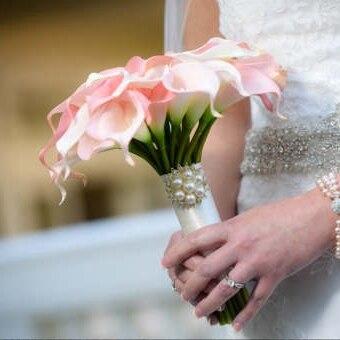Rose Picasso Calla lys vraie touche fleurs pour Bouquets de mariage centres de table Bouquet de mariée Blush Bouquets roses