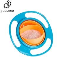 Фотография Pudcoco Non Spill Feeding Infant Gyro UFO Bowl 360 deg Rotating Baby Kids Avoid Food Spilling Baby Eat Toy Tool Flying Saucer