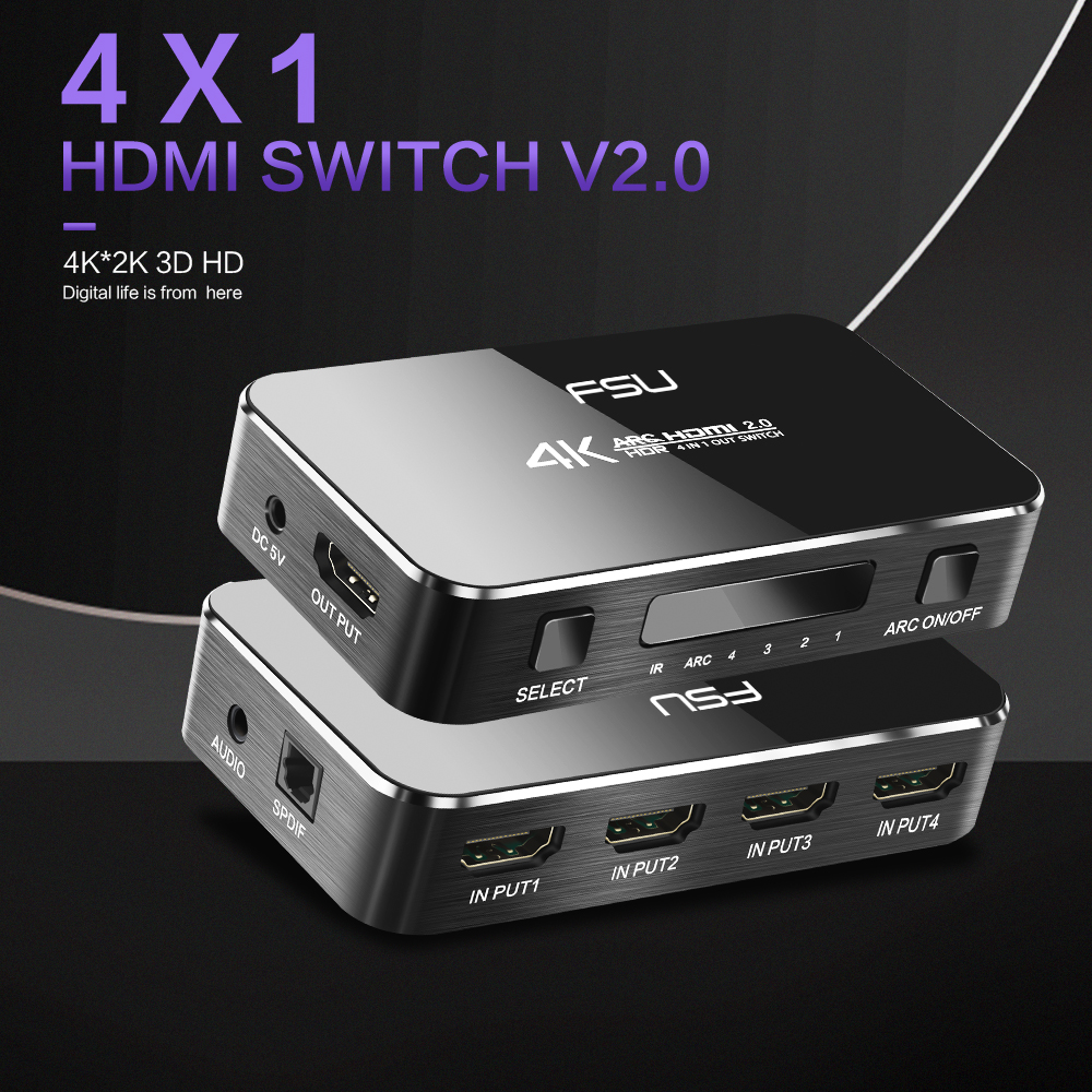 HTB1lcQEbA5E3KVjSZFCq6zuzXXas HDMI Switch 2.0 4K 60HZ HDR HDMI Splitter Switch 4 In 1 Out HDMI Switcher Audio Extractor ARC & IR Control For PS3 PS4 HDTV