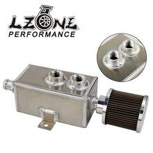 LZONE - 1L Universal Car Aluminum Oil Catch Can Tank Fuel Tanks with Breather Filter Drain Tap 1LT Baffled JR9491
