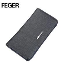 FEGER PVC clutch walelt fashion men dark blue clutch bag card wallet with coin slot