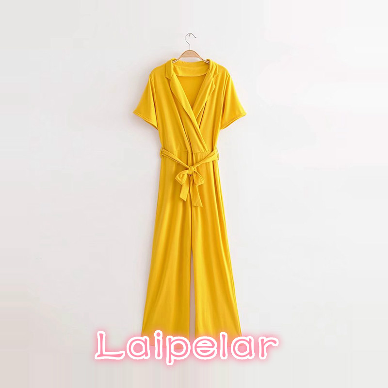 2018 yellow women jumpsuit Sexy v neck short sleeve lace up jumpsuit summer Elegant casual high waist streetwear long overalls