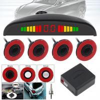 12V 4 sensores 16mm coche Original Sensor aparcamiento plano de la Media Luna Roja de Radar de marcha atrás sistema Detector con pantalla LED