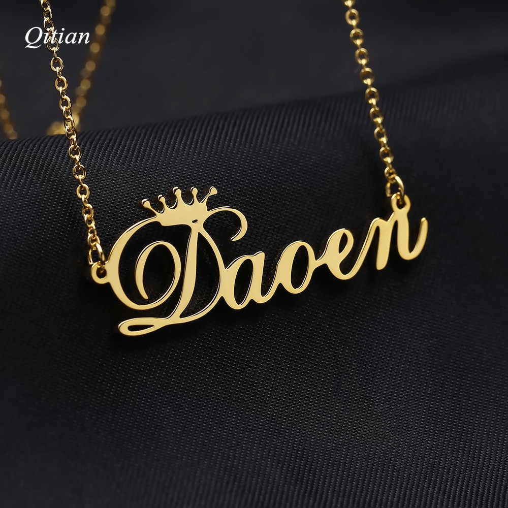 Cursive Crown  Name Necklace    Personalized Customized Nameplate Necklaces For Birthday Gift Gold Stainless Steel Jewelry
