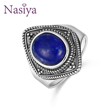Nasiya Vintage 8x10MM Natural Oval Lapis Rings 925 Silver Fine Jewelry For Women Anniversary Party Stone Gift