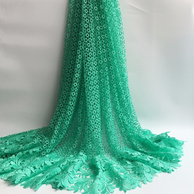 Aqua Green Color High Quality African Guipure Cord Lace Fabric Water Soluble Cupion 5yards Pcs For Wedding Lj174 216