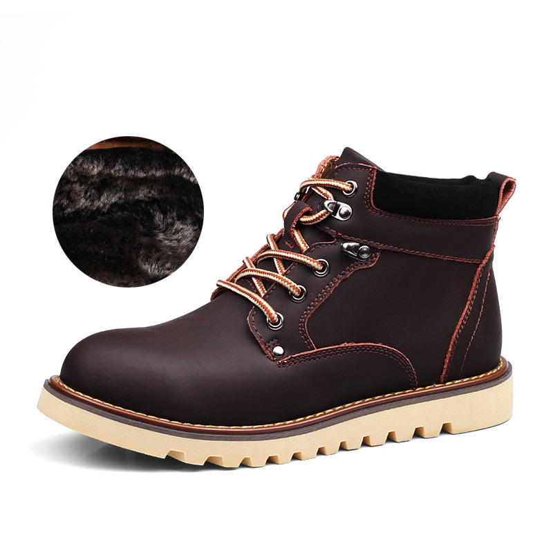 New Insulation Men's Winter Leather Ankle Boots Men Autumn Waterproof Snow Boots Martin Boots High Quality Fashion Tooling Boots
