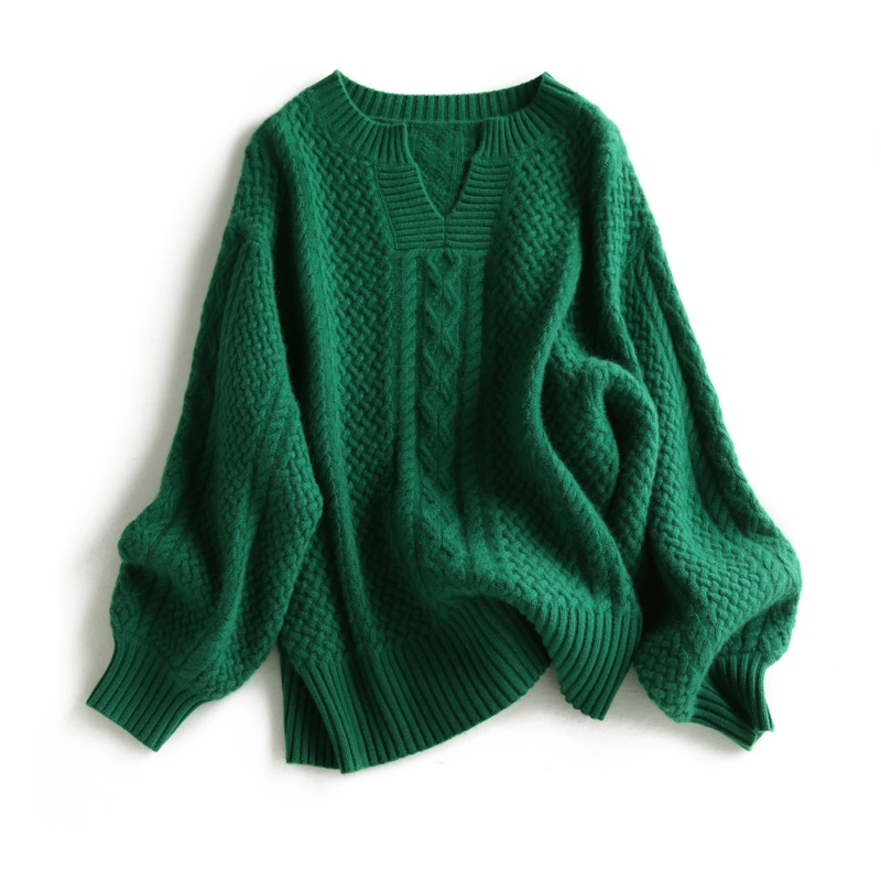 Hot Sale 100% Cashmere Women Sweater Female Winter Fashion Woman Jumpers Woolen  Emerald Vintage Ladies Sweater Tops