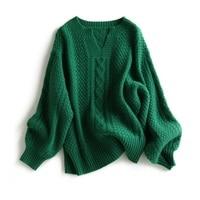 Hot Sale 100% Cashmere Women Sweater Female Winter Fashion Woman Jumpers Woolen Emerald Vintage ladies sweater Tops