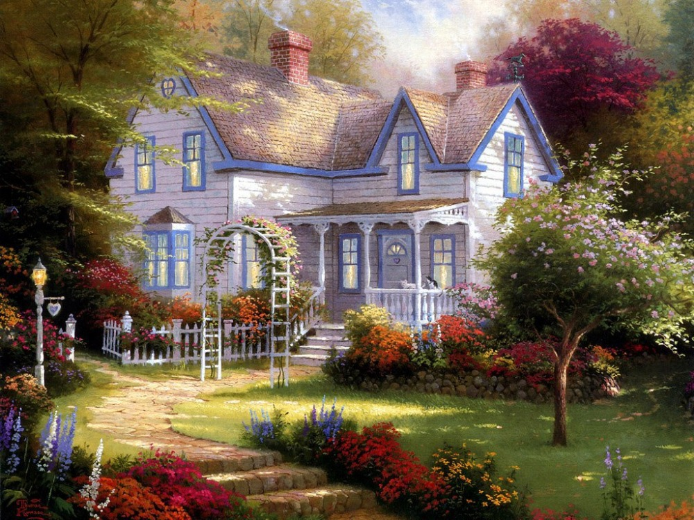 Free Shipping NEW DIY full Diamond Painting European Style Garden - Arts, Crafts and Sewing - Photo 1