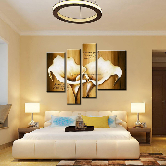 MUYA 4 piece canvas wall art cheap modern paintings calla lily ...