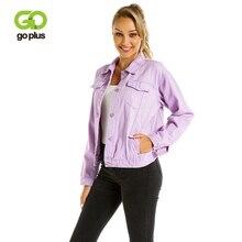 GOPLUS Women Denim Jackets 2019 Spring Summer Oversize Purple Casual Female Jacket Coats Chic Basic Jean for Girls C7866