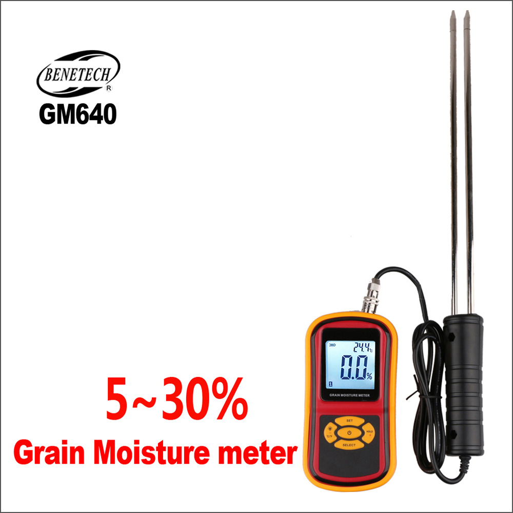 BENETECH Digital Grain Moisture Meter Hygrometer Tester Electrical With GM640 3%-5% Backlight Plant Humidity Measuring DeviceBENETECH Digital Grain Moisture Meter Hygrometer Tester Electrical With GM640 3%-5% Backlight Plant Humidity Measuring Device