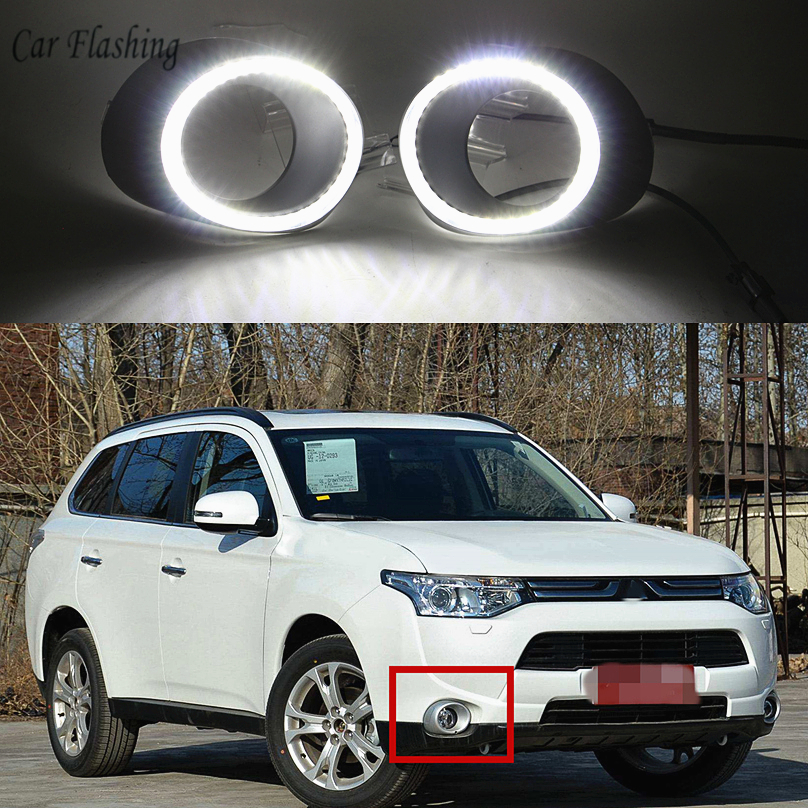 Car Flashing for Mitsubishi Outlander 2013 2015 LED DRL Daytime driving Running Lights Daylight yellow turn
