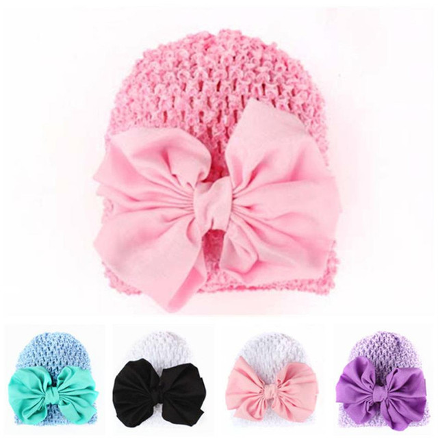 Toddlers Infant Baby Girl Bowknot Hollow Out Winter Hat Headwear knit cap  baby boys girls hats 6b65f10dc83