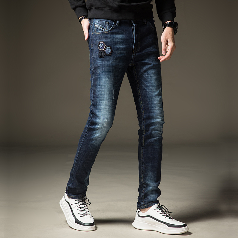 2018 spring and summer new trend fashion stretch Slim mens small straight trousers simple wild jeans