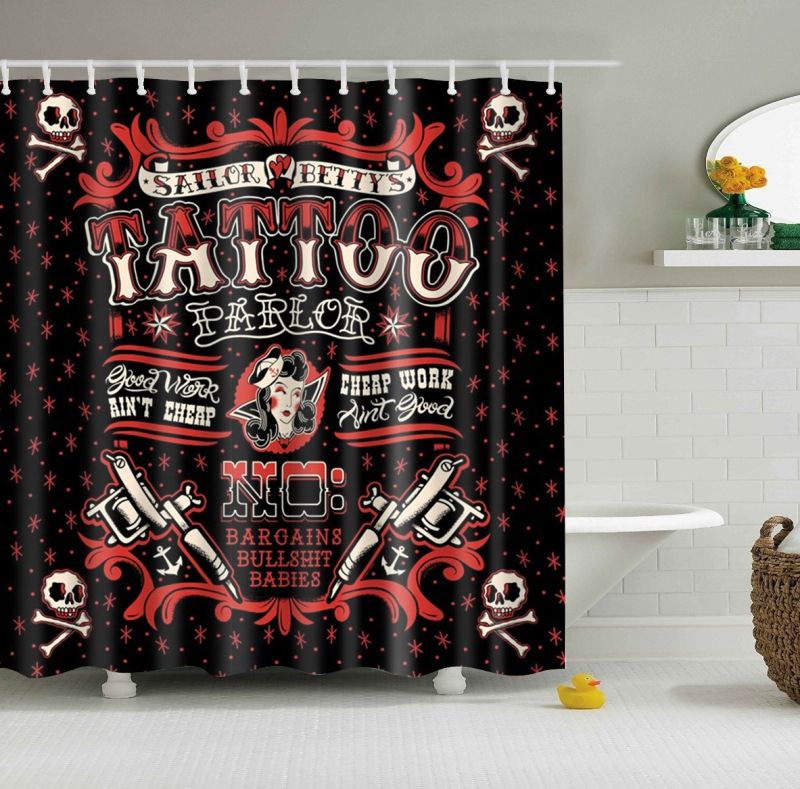 Papa&Mima Gothic Tattoo Waterproof Shower Curtains Polyester Bathroom Curtains With Hooks 150x180/180x180cm Decorative