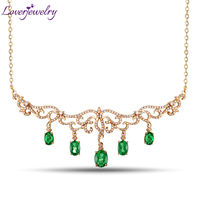 2015 Hot Design Solid 18Kt Yellow Gold Emerald Pendant Necklace For Women 100 Natural Emerald Necklaces