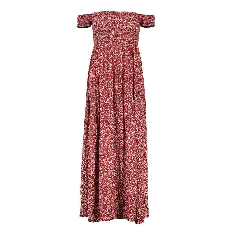 Vestidos mujer Summer Dress 2017 Clothes Women Short Sleeve Multicolor Floral Print Off The Shoulder Ruffle Sheath long Dresses