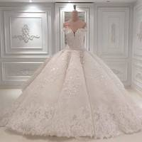 Elegant Lace Appliques Wedding Dresses 2019 Gorgeous Beading Crystal Prom Gowns Custom Make Backless Court Train Ball Gowns