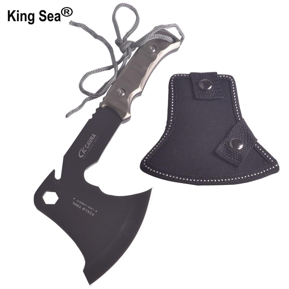 King Sea Outdoor Climbing Axe Self defense Hand Tool Black Blade Tomahawk Aluminum Handle Ultralight Hunting