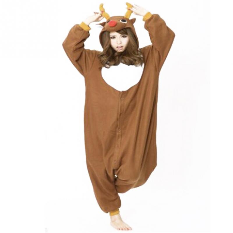 Santa Deer Pajamas Animal Cosplay Costume Unisex Adult Onesie Sleepwea Christmas Deer Connected Pajamas